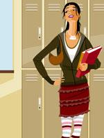 girl holding books beside lockers