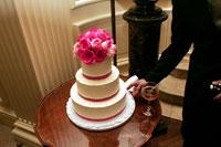 Woman sneaking icing off wedding cake 11029000027| 写真素材・ストックフォト・画像・イラスト素材|アマナイメージズ