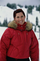 Smiling woman in parka