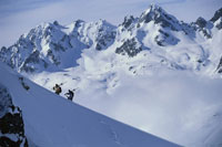 Skiers climbing mountain carrying skis