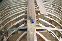 Chisel on boat frame