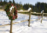 Wreath on snow covered fence