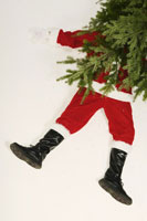 Santa Claus underneath Christmas tree