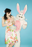 Easter bunny surprising woman