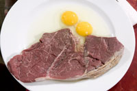 Raw steak and eggs