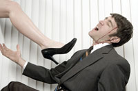 Businessman being attacked by woman