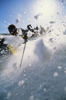 Close-up of skier and snow 11029001668| 写真素材・ストックフォト・画像・イラスト素材|アマナイメージズ