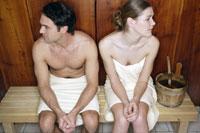 Couple in sauna room