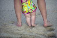 Mother helping baby walk on beach 11029002536| 写真素材・ストックフォト・画像・イラスト素材|アマナイメージズ