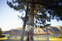 Womans feet in hammock