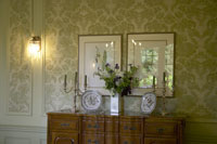 Chandeliers on chest of drawers