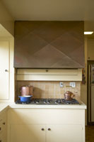 Kitchen stove with fume hood