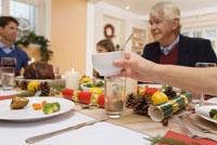 Family sharing Christmas dinner