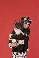 Stylish girl and her dog