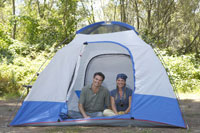 Young couple posing in tent