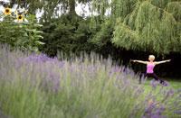 Woman in yoga pose near lavender field 11029003853| 写真素材・ストックフォト・画像・イラスト素材|アマナイメージズ