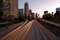 City skyline and freeway, Los Angeles