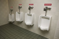 Urinals with reserved signs