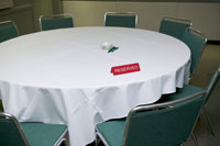 Table with reserved sign