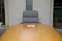 Conference table with reserved sign