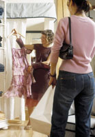 Woman shopping for skirt