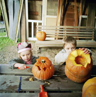 Children carving pumpkins for Halloween 11029004786| 写真素材・ストックフォト・画像・イラスト素材|アマナイメージズ