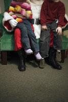 Children sitting on Santas knees