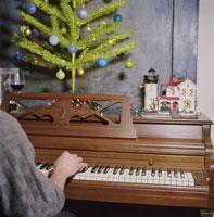 Man adorned with Christmas tree