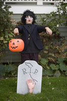 Young boy trick or treating on Halloween