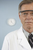 scientist with protective eye wear