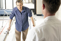 Woman and physical therapist