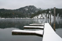 Dock covered in snow