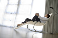 Man relaxing in reclining chair