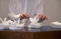 Food server folding napkins