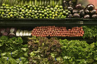 Vegetables for sale in grocery store
