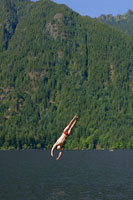 Man diving into lake