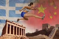 athlete running over ancient monuments 11029007684| 写真素材・ストックフォト・画像・イラスト素材|アマナイメージズ