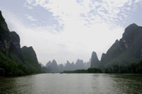 raft on Li River with Guilin mountains