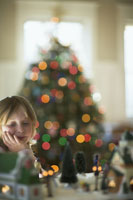 Girl admiring Christmas decorations