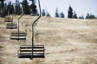 Empty ski lift in summer