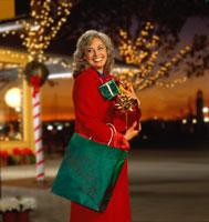 Caucasian woman Christmas shopping