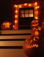 Jack-o-lanterns on doorsteps