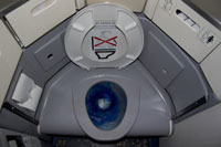 Airplane toilet flushing