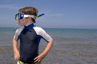 Young boy snorkeling