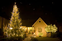 House exterior with christmas lights