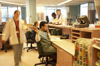 Busy hospital reception desk