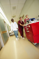 Doctor and nurses with medical cart
