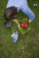 Woman potting flowers