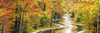 Panoramic view of winding road in autumn