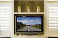 Wide-screen television in living room